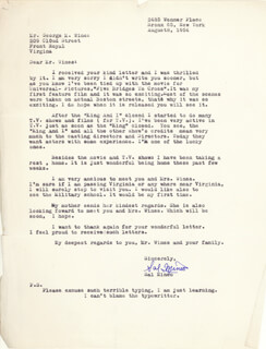 SAL MINEO - TYPED LETTER SIGNED 08/08/1954