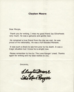 CLAYTON THE LONE RANGER MOORE - TYPED LETTER SIGNED