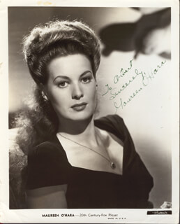 MAUREEN O'HARA - INSCRIBED PRINTED PHOTOGRAPH SIGNED IN INK