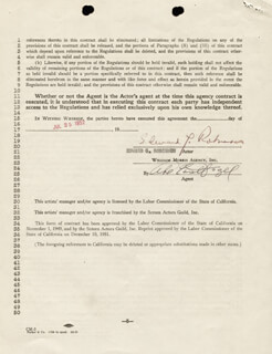 EDWARD G. ROBINSON - CONTRACT SIGNED 07/25/1952