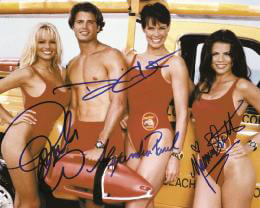 BAYWATCH TV CAST - AUTOGRAPHED SIGNED PHOTOGRAPH CO-SIGNED BY: YASMINE BLEETH, ALEXANDRA PAUL, PAMELA ANDERSON, DAVID CHARVET