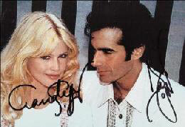 CLAUDIA SCHIFFER - AUTOGRAPHED SIGNED PHOTOGRAPH CO-SIGNED BY: DAVID COPPERFIELD
