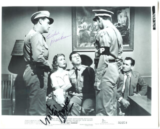 WE''RE NOT MARRIED MOVIE CAST - PRINTED PHOTOGRAPH SIGNED IN INK CIRCA 1952 CO-SIGNED BY: EDDIE BRACKEN, MITZI GAYNOR