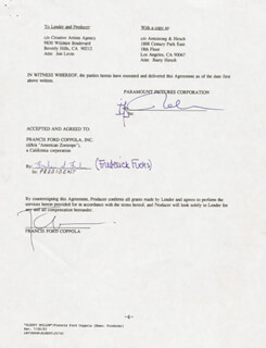 Autographs: FRANCIS FORD COPPOLA - DOCUMENT SIGNED 09/18/1992 CO-SIGNED BY: FRED (FREDERIC S.) FUCHS