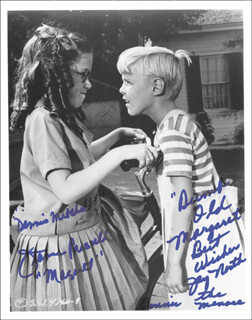 DENNIS THE MENACE TV CAST - AUTOGRAPHED INSCRIBED PHOTOGRAPH CO-SIGNED BY: JAY NORTH, JEANNE RUSSELL