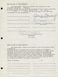 JAMES JIMMY STEWART - DOCUMENT SIGNED 03/31/1950 CO-SIGNED BY: GUY GADBOIS