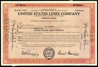 Autographs: ROSE F. KENNEDY - STOCK CERTIFICATE ENDORSED 12/13/1946
