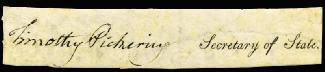 GENERAL TIMOTHY PICKERING - CLIPPED SIGNATURE