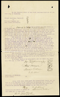 WILLIAM M. BILL TILGHMAN - DOCUMENT SIGNED 06/19/1890 CO-SIGNED BY: NEAL BROWN