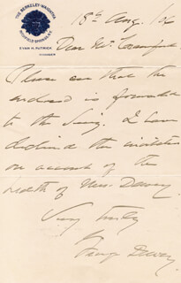 ADMIRAL GEORGE DEWEY - AUTOGRAPH LETTER SIGNED 08/18/1906