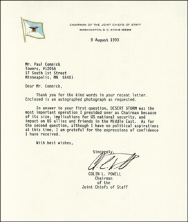 Autographs: GENERAL COLIN L. POWELL - TYPED LETTER SIGNED 08/09/1993