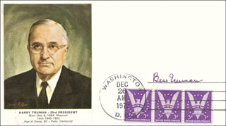 FIRST LADY BESS W. TRUMAN - COMMEMORATIVE COVER SIGNED