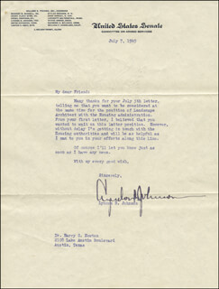 PRESIDENT LYNDON B. JOHNSON - TYPED LETTER SIGNED 07/07/1949