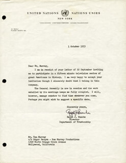 Autographs: RALPH J. BUNCHE - TYPED LETTER SIGNED 10/01/1953