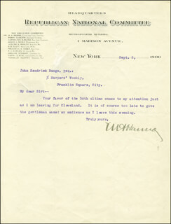 MARCUS A. HANNA - TYPED LETTER SIGNED 09/05/1900