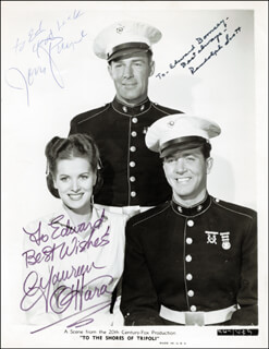 TO THE SHORES OF TRIPOLI MOVIE CAST - INSCRIBED PRINTED PHOTOGRAPH SIGNED IN INK CO-SIGNED BY: JOHN PAYNE, RANDOLPH SCOTT, MAUREEN O'HARA