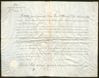 KING LOUIS XVIII (FRANCE) - DOCUMENT SIGNED 07/29/1814