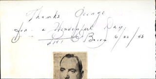 PAT O'BRIEN - AUTOGRAPH NOTE SIGNED 06/26/1958