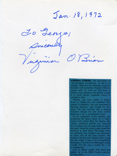 VIRGINIA O'BRIEN - AUTOGRAPH NOTE SIGNED 01/18/1972