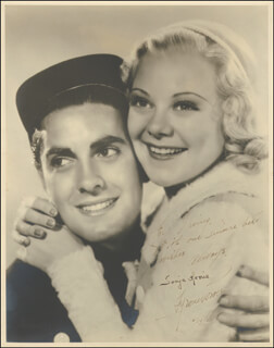 TYRONE POWER - AUTOGRAPHED INSCRIBED PHOTOGRAPH 06/14/1937 CO-SIGNED BY: SONJA HENIE