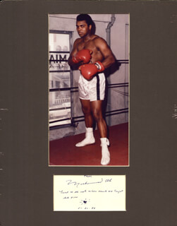 Autographs: MUHAMMAD THE GREATEST ALI - AUTOGRAPH QUOTATION SIGNED 01/24/1989