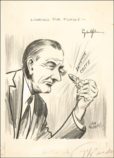 PRESIDENT LYNDON B. JOHNSON - CARTOON SIGNED CO-SIGNED BY: RUBE GOLDBERG
