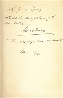 SEAN O'CASEY - INSCRIBED BOOK SIGNED 1940