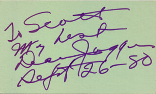 DEAN JAGGER - AUTOGRAPH NOTE SIGNED 09/26/1980