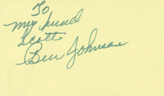 Autographs: BEN JOHNSON - AUTOGRAPH NOTE SIGNED