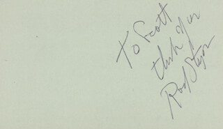 ROD STEIGER - AUTOGRAPH NOTE SIGNED