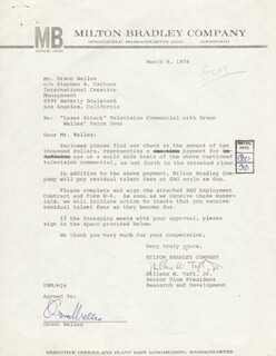 ORSON WELLES - CONTRACT SIGNED 03/09/1978