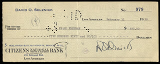 DAVID O. SELZNICK - AUTOGRAPHED SIGNED CHECK 02/11/1939