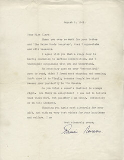 RAMON NOVARRO - TYPED LETTER SIGNED 08/09/1941