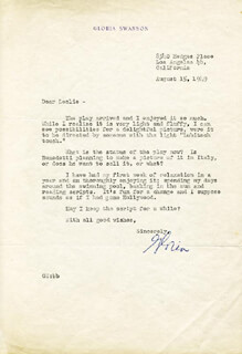 GLORIA SWANSON - TYPED LETTER SIGNED 08/15/1949