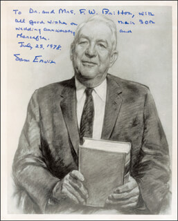 SAMUEL J. SAM ERVIN JR. - AUTOGRAPHED INSCRIBED PHOTOGRAPH 07/25/1978