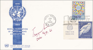 TRYGVE LIE - FIRST DAY COVER SIGNED 02/07/1966