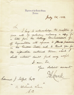JAMES R. LOWELL - AUTOGRAPH LETTER SIGNED 07/25/1883