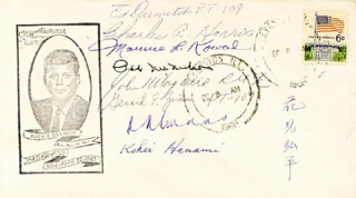 PT-109 (KOHEI HANAMI) - FIRST DAY COVER SIGNED CO-SIGNED BY: PT-109 CREW (GERARD E. ZINSER), PT-109 CREW (ED DREWITCH), PT-109 CREW (CHARLES A. HARRIS), PT-109 CREW (MAURICE KOWAL)