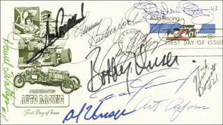 RICHARD PETTY - FIRST DAY COVER SIGNED CO-SIGNED BY: NEIL BONNETT, DAN GURNEY, MARIO ANDRETTI, AL UNSER, A. J. FOYT, BOBBY UNSER, JOHNNY RUTHERFORD
