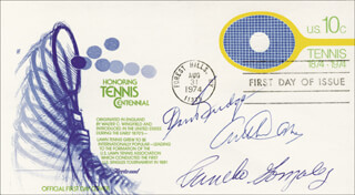 Autographs: ARTHUR ASHE - FIRST DAY COVER SIGNED CO-SIGNED BY: DON BUDGE, PANCHO GONZALEZ