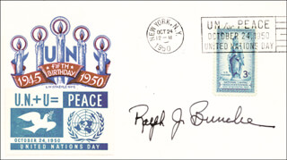 RALPH J. BUNCHE - COMMEMORATIVE COVER SIGNED