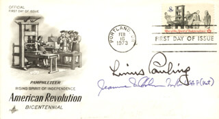 LINUS PAULING - FIRST DAY COVER SIGNED CO-SIGNED BY: MAJOR GENERAL JEANNE M. HOLM