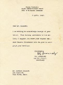 KAY SUMMERSBY - TYPED LETTER SIGNED 04/09/1945
