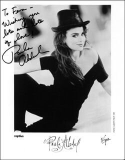 PAULA J. ABDUL - INSCRIBED PRINTED PHOTOGRAPH SIGNED IN INK