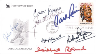 GILBERT ROLAND - FIRST DAY COVER SIGNED CO-SIGNED BY: DEBRA PAGET, CARL REINER, CESAR ROMERO, DOUGLAS FAIRBANKS JR., JOHN AGAR, JEANETTE NOLAN