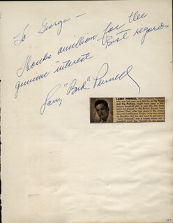 LARRY PENNELL - AUTOGRAPH NOTE SIGNED CO-SIGNED BY: JODY McCREA, CHICK HEARN