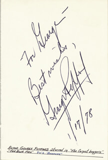 GEORGE PEPPARD - AUTOGRAPH NOTE SIGNED 01/17/1978