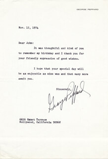 GEORGE PEPPARD - TYPED LETTER SIGNED 12/12/1974