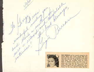 JAMES A. FARLEY - AUTOGRAPH NOTE SIGNED 01/08/1962 CO-SIGNED BY: GIGI PERREAU