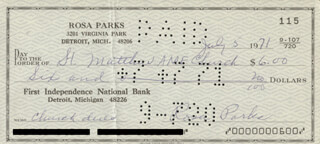 Autographs: ROSA PARKS - CHECK SIGNED 07/05/1971